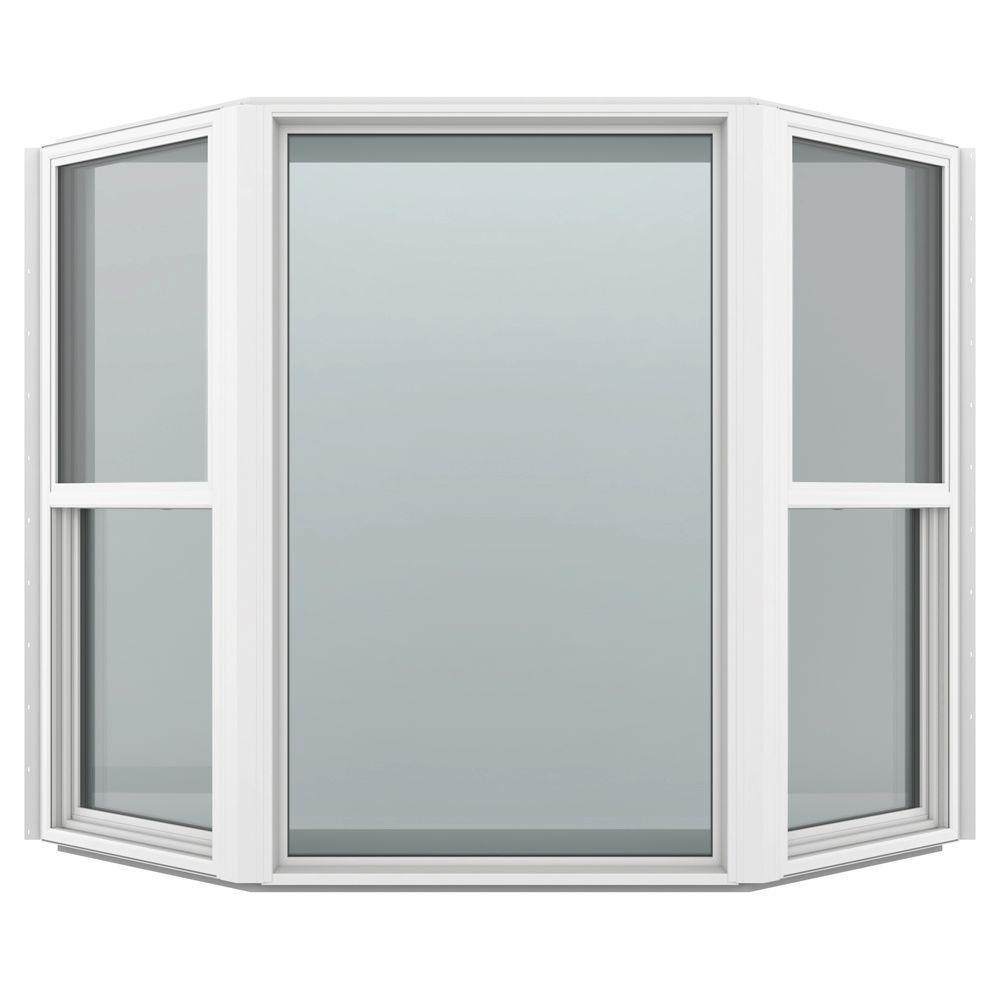 Jeld wen 73 5 in x 61 in v 4500 series bay vinyl window for New construction vinyl windows reviews