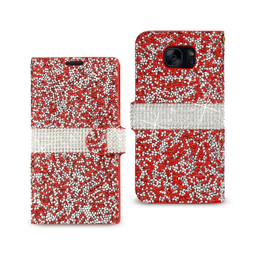 REIKO Galaxy S7 Edge Rhinestone Case in Red