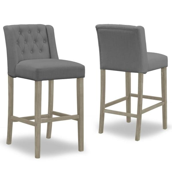 29 in. Aled Grey Fabric with Side Wings and Tufted Buttons  Bar Stool (Set of 2)