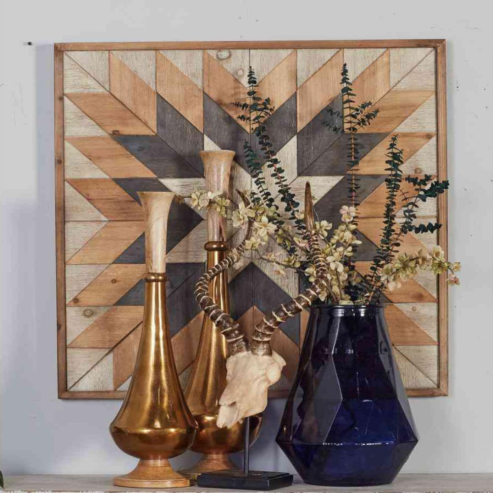 """30 in. x 30 in. """"Geometric Star"""" Framed Wooden Wall Art"""
