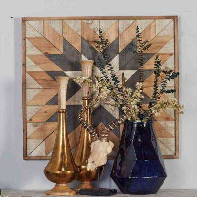 "30 in. x 30 in. ""Geometric Star"" Framed Wooden Wall Art"