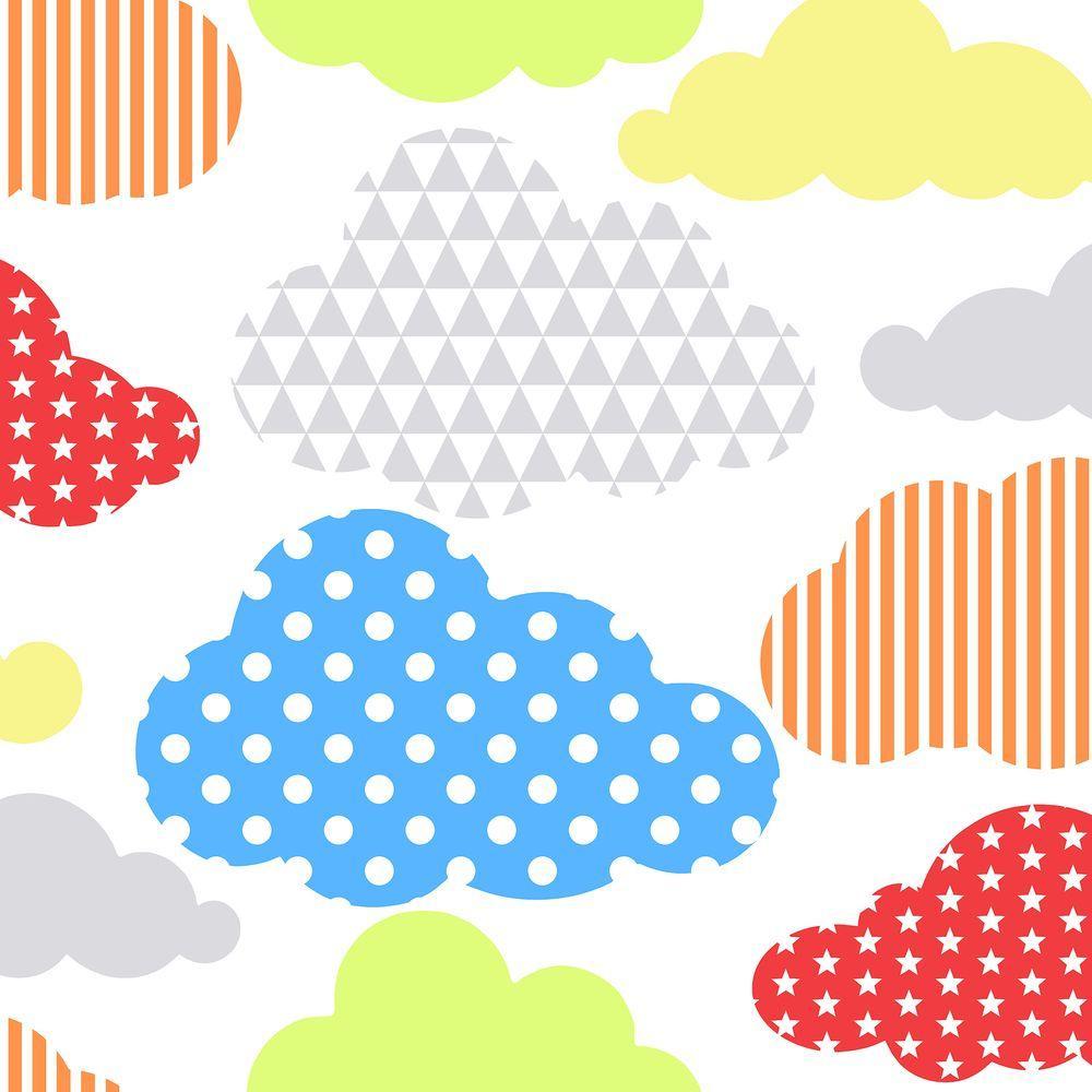 Multi Color Brights Marshmallow Clouds Wallpaper