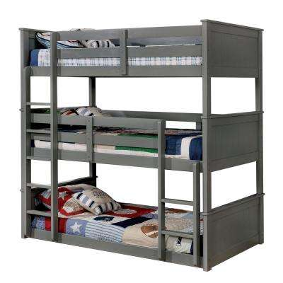 Therese Twin Triple Decker Bed in Gray Finish