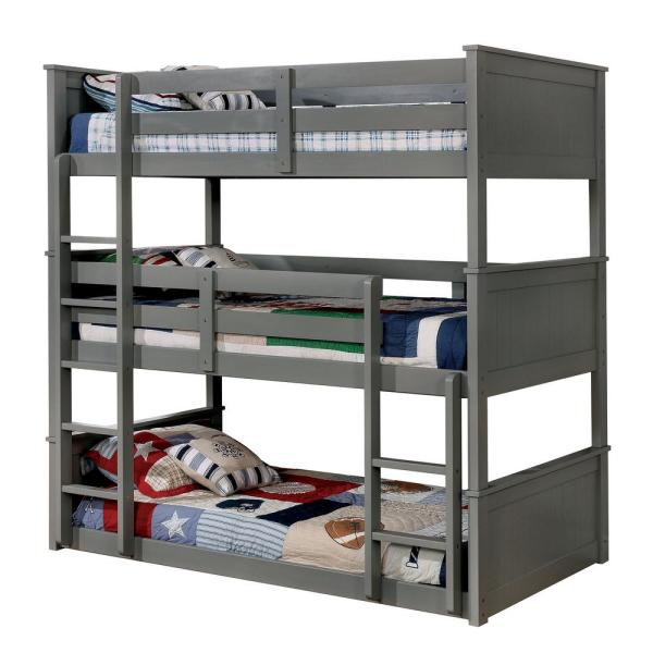 Therese Gray Twin Triple Decker Bed