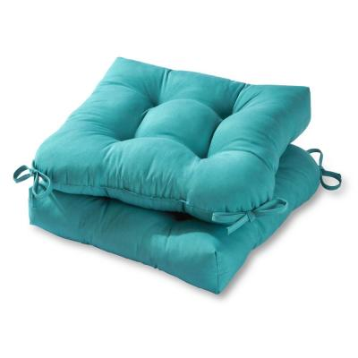 Solid Teal Square Tufted Outdoor Seat Cushion (2-Set)