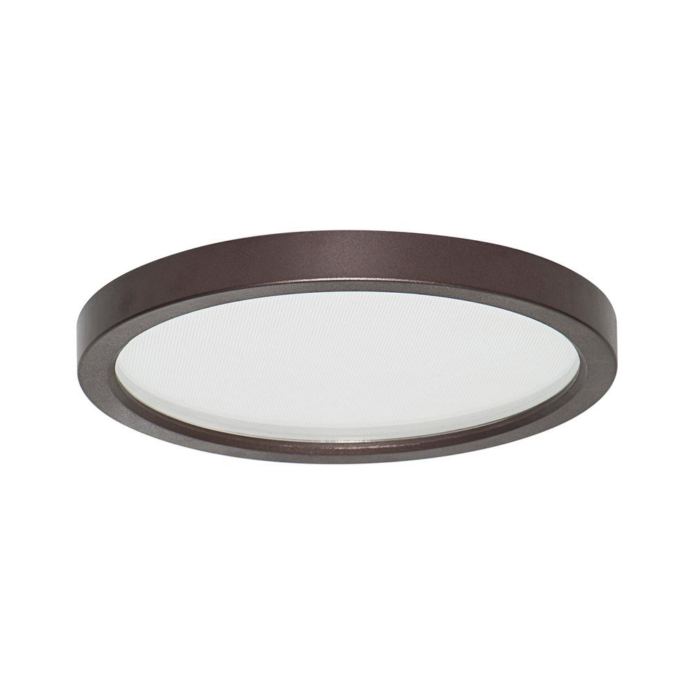 Led Slim Round Down Light Disk Length 7 In Bronze Recessed Integrated Trim Kit Fixture 3000k Warm White New Construction