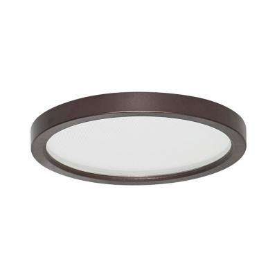 Round Slim Disk Length 7 in. Bronze Recessed Integrated LED Trim Kit Round Fixture 3000K Warm White New Construction