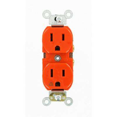 15 Amp Industrial Grade Heavy Duty Islolated Ground Duplex Outlet, Orange