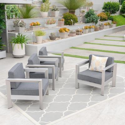 Aviara Silver Arm Aluminum Outdoor Club Lounge Chairs with Grey Cushion (4-Pack)