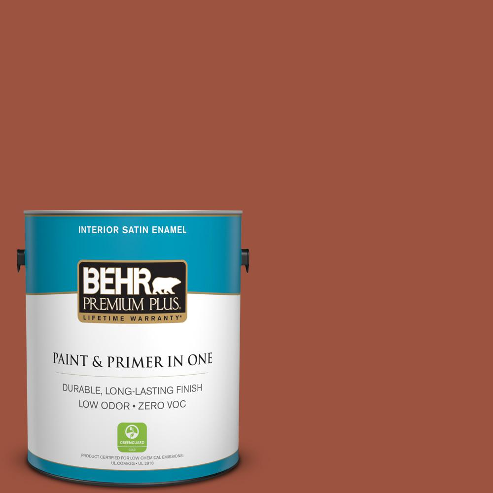 1 gal. #210D-7 Firebrick Satin Enamel Zero VOC Interior Paint and