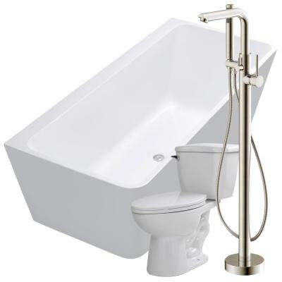 Strait 67 in. Acrylic Flatbottom Non-Whirlpool Bathtub in White with Sens Faucet and Kame 1.28 GPF Toilet