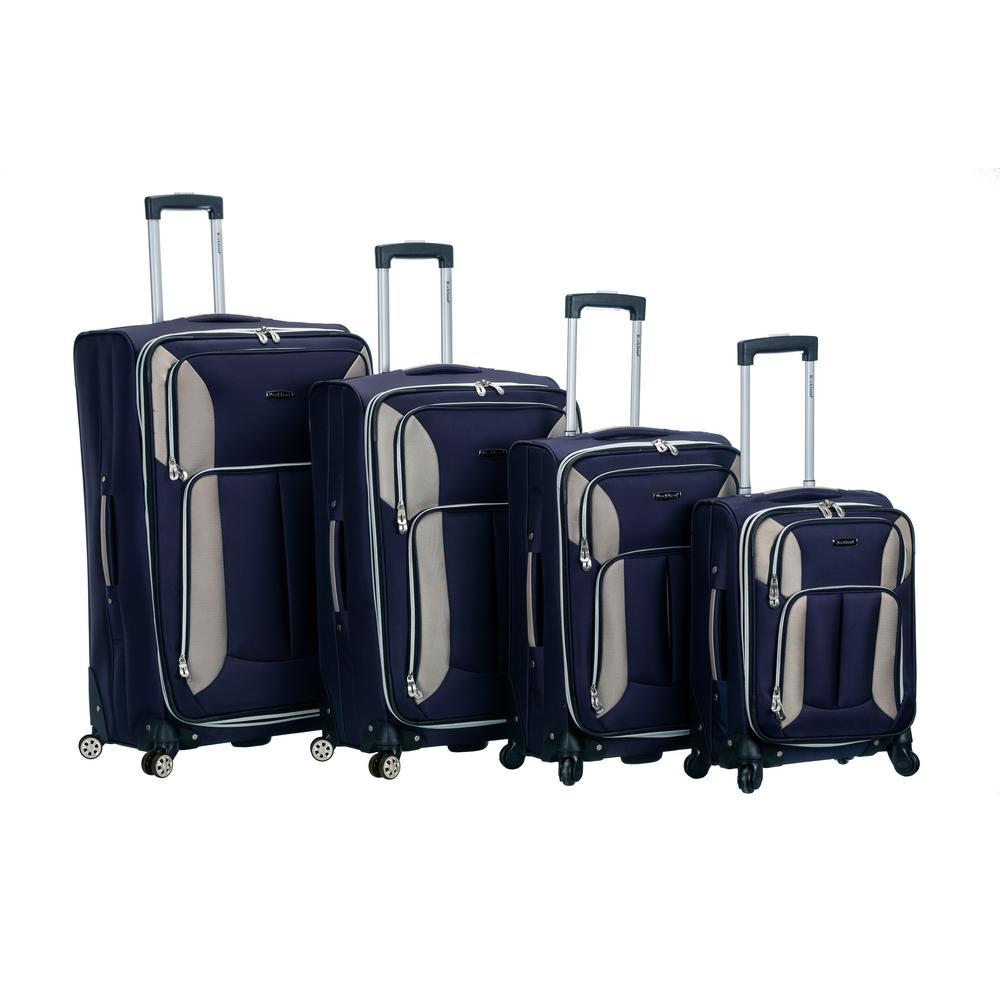 Rockland 4-Piece Impact Spinner Softside Luggage Set, Navy