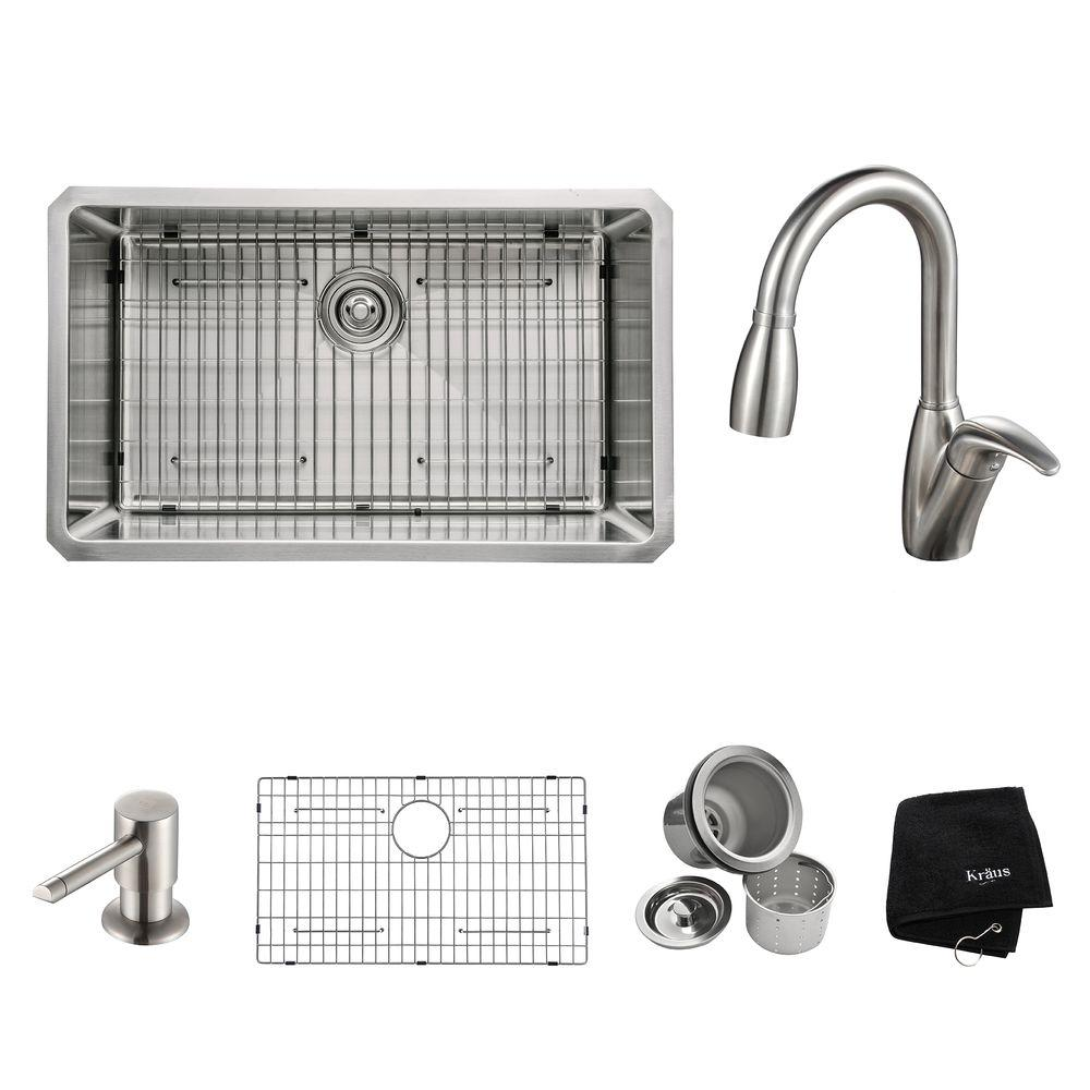 KRAUS All-in-One Undermount Stainless Steel 30 in. Single Bowl Kitchen Sink with Faucet and Accessories in Stainless Steel