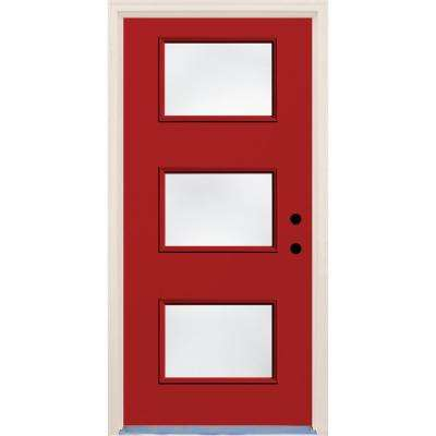 36 in. x 80 in. Left-Hand Engine 3 Lite Clear Glass Painted Fiberglass Prehung Front Door with Brickmould