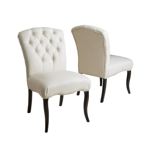 Hallie Linen Fabric Tufted Dining Chair (Set of 2)