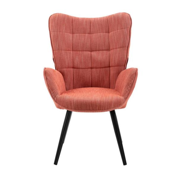 Funkel Orange Fabric Wingback Accent Chair Lounge Chair
