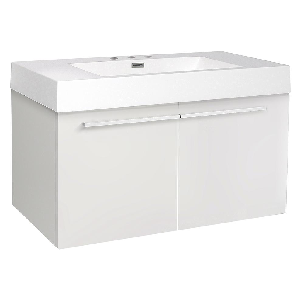 Vista 36 in. Bath Vanity in White with Acrylic Vanity Top