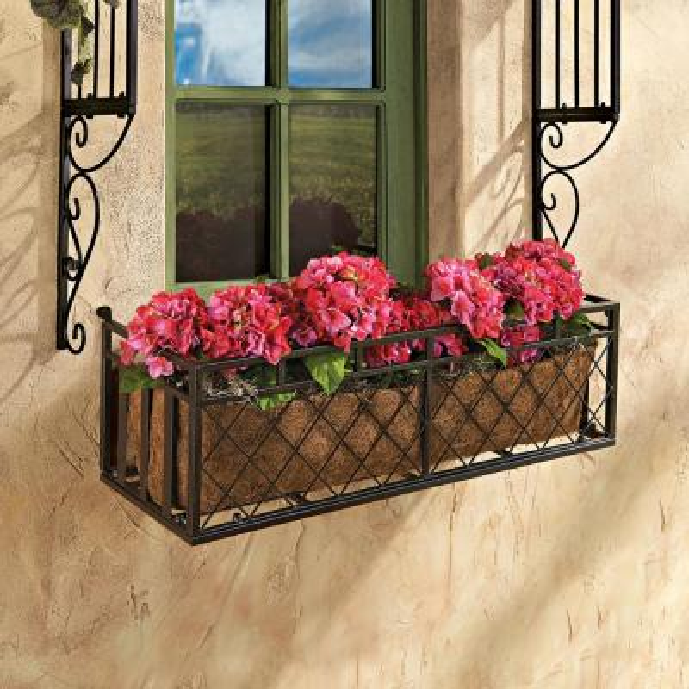 34 in. x 33 in. Brown Metal Window Box
