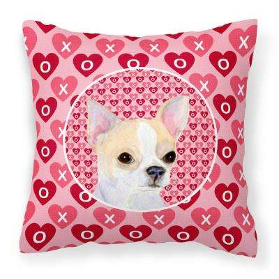 14 in. x 14 in. Multi-Color Lumbar Outdoor Throw Pillow Chihuahua Hearts Love and Valentine's Day Portrait