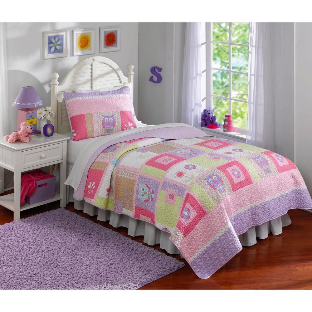 Happy 2-Piece Pink Owls Twin Quilt Set