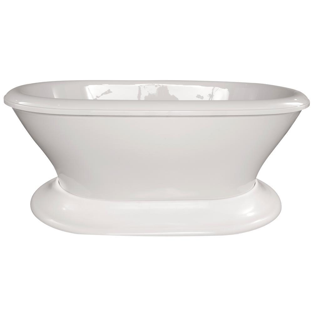 Augusta 70 in. Acrylic Flatbottom Air Bath Bathtub in White