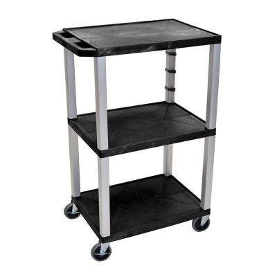 WT 42 in. A/V Cart Nickel Legs and Black Shelves