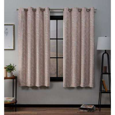 Kilberry 52 in. W x 63 in. L Woven Blackout Grommet Top Curtain Panel in Rose Blush (2 Panels)