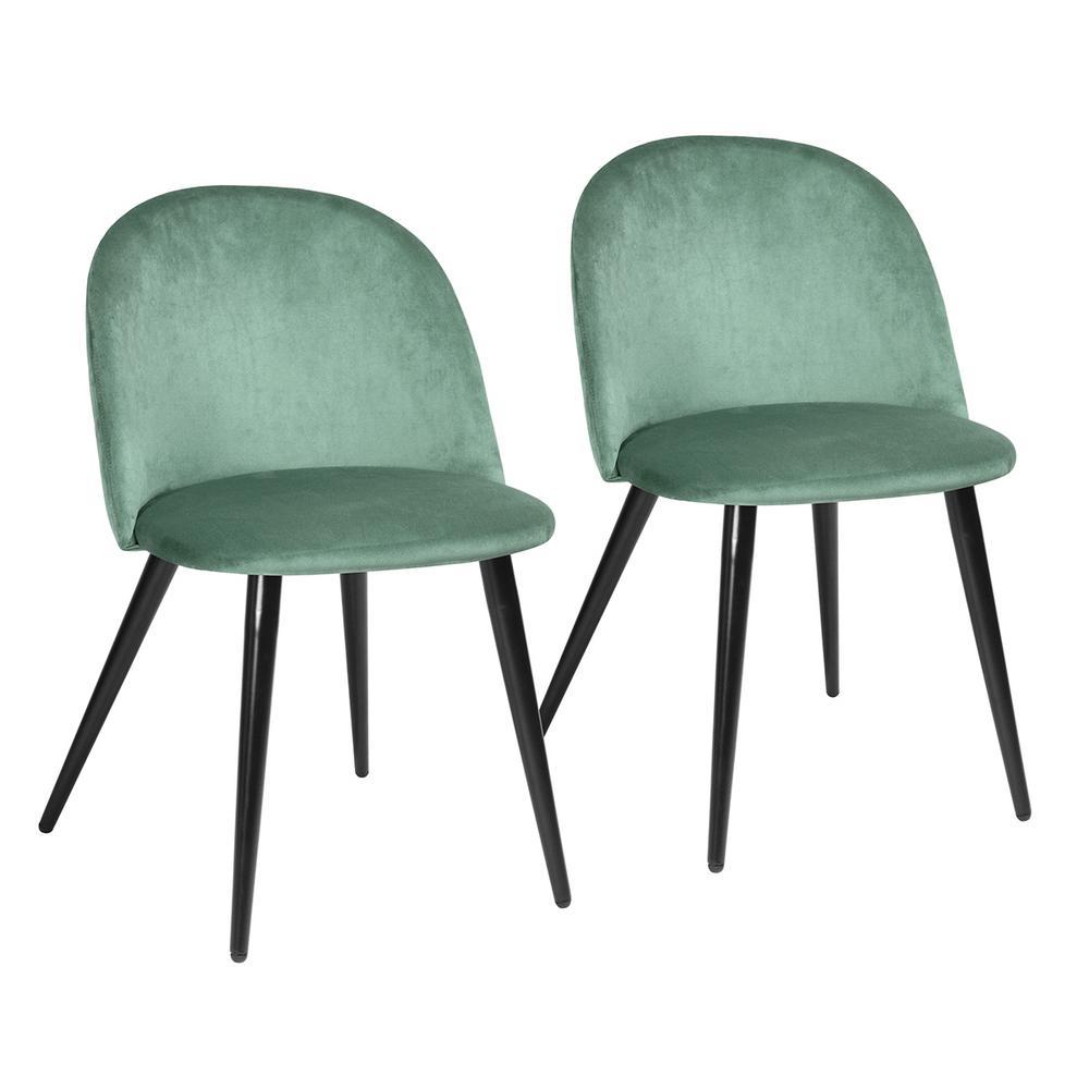 Zomba Green Velvet Dining Chair Black Leg (Set of 2)
