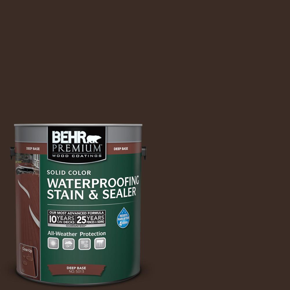 BEHR Premium 1 gal. #SC-103 Coffee Solid Color Waterproofing Stain and Sealer