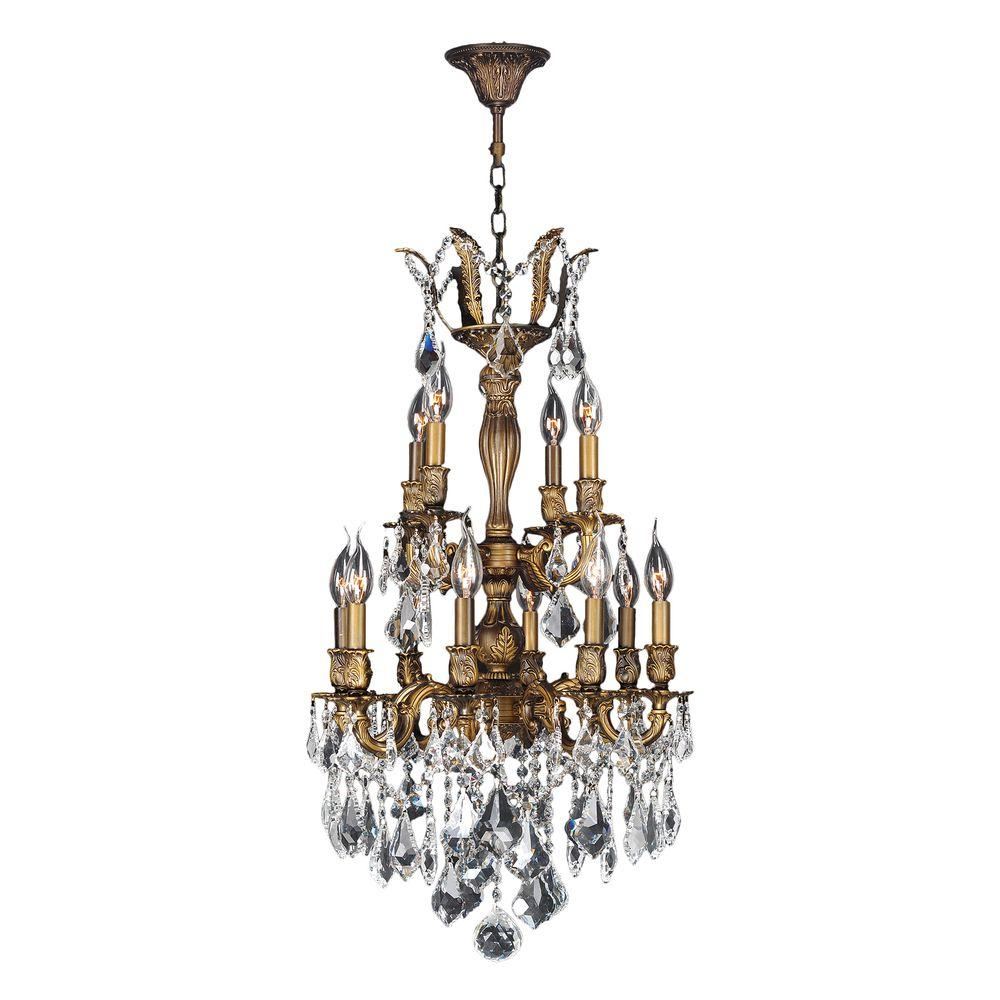 Worldwide Lighting Versailles Collection 12-Light Crystal and Antique Bronze Chandelier