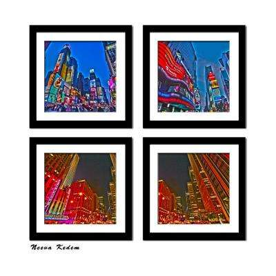 "Four 10 in. x 10 in. ""Times Square"" by Neeva Kedem Framed Printed Wall Art"