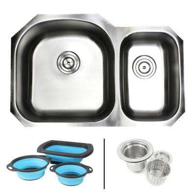 Undermount 16-Gauge Stainless Steel 31-1/2 in. 70/30 Double Bowl Kitchen Sink in Satin Pearl w Collapsible Colanders