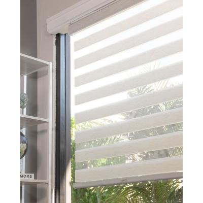 Basic Natural Cordless Cut-to-Width Light Filtering Dual Layer Zebra Roller Shade 20 in. W x 72 in. L