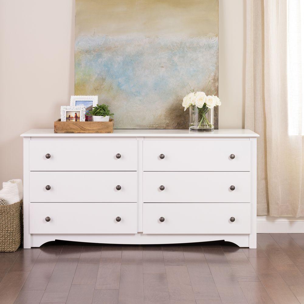 Prepac Monterey 6 Drawer White Dresser