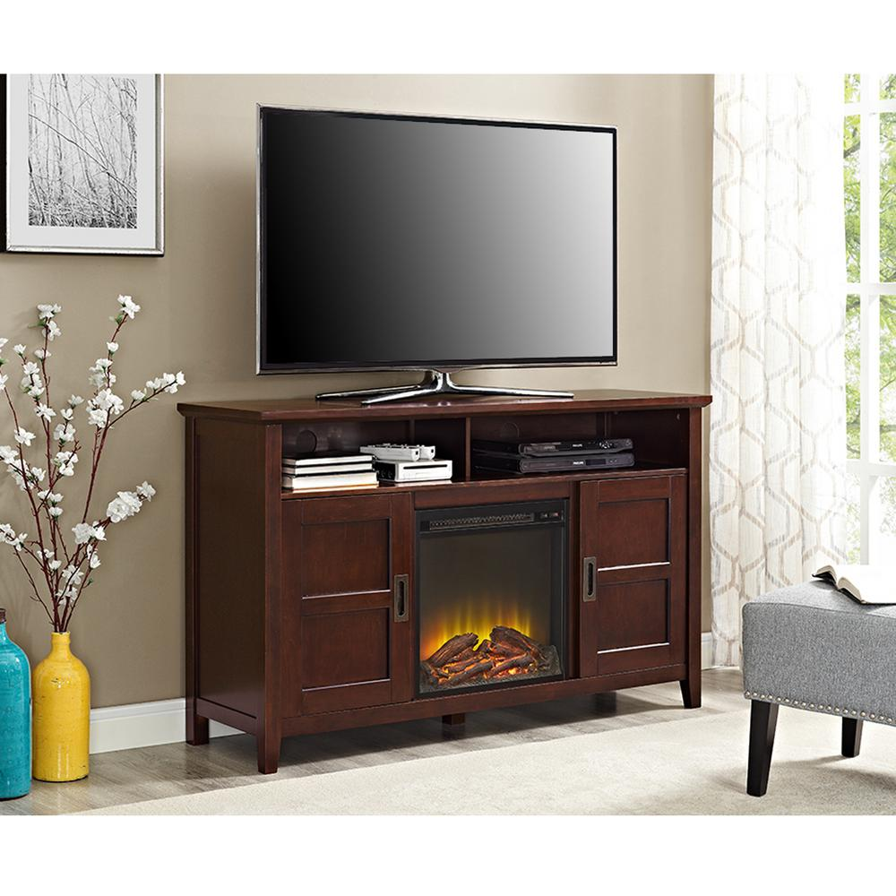 52 in. Electric Fireplace TV Stand in Rustic Chic Coffee ...