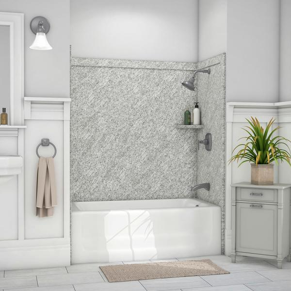 Elite 32 in. x 60 in. x 60 in. 9-Piece Easy Up Adhesive Alcove Tub Surround in Arctic Haze