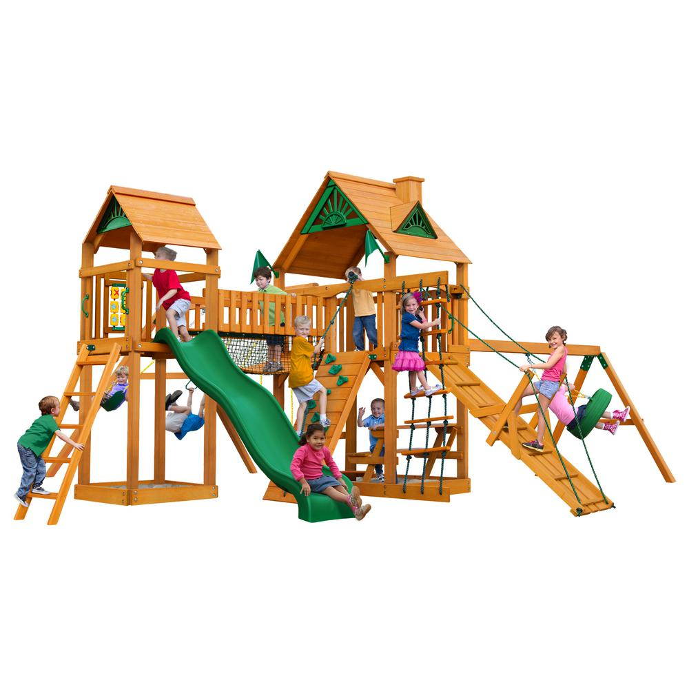 Gorilla playsets pioneer peak with amber posts cedar for Gorilla playsets