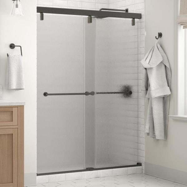 Everly 60 x 71-1/2 in. Frameless Mod Soft-Close Sliding Shower Door in Bronze with 1/4 in. (6mm) Rain Glass