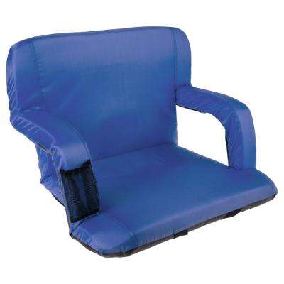 Blue Cushioned Wide Stadium Seat Chair with Carry Straps