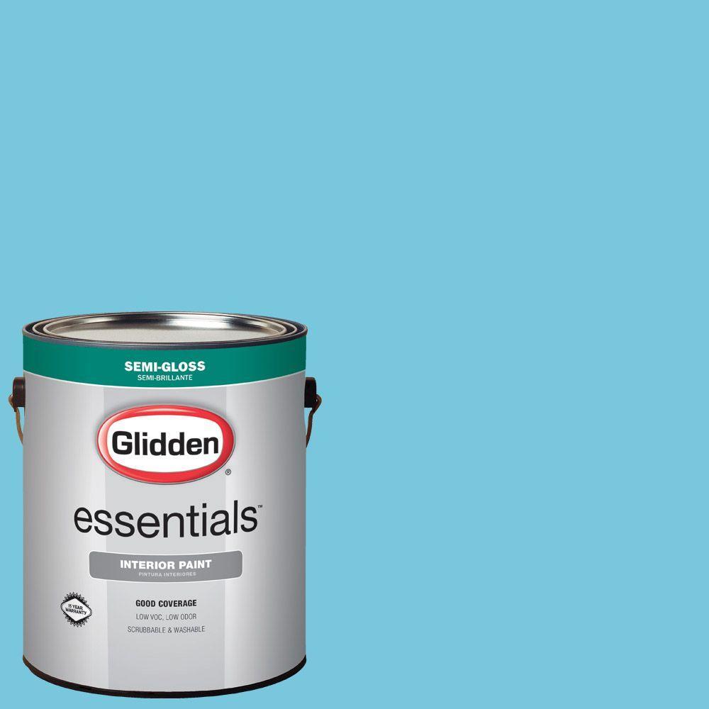 Glidden Essentials 1 Gal Hdgb41u By The Sea Semi Gloss Interior Paint Hdgb41ue 01sn The Home Depot