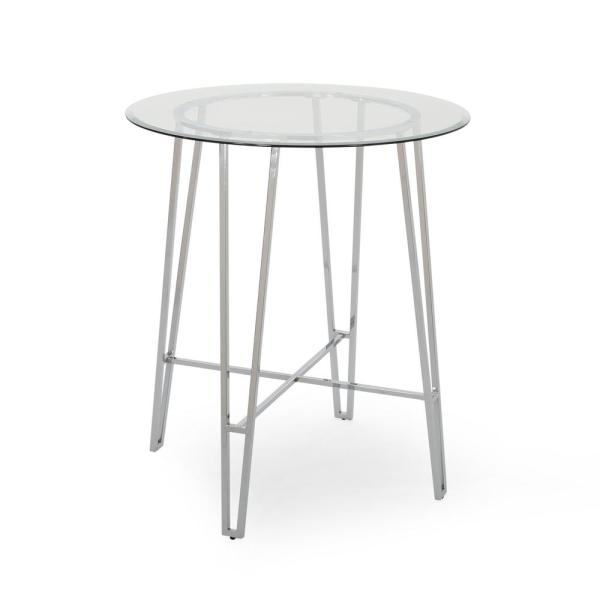 Noble House Acme Silver Bar Table With Tempered Glass Top 69520 The Home Depot