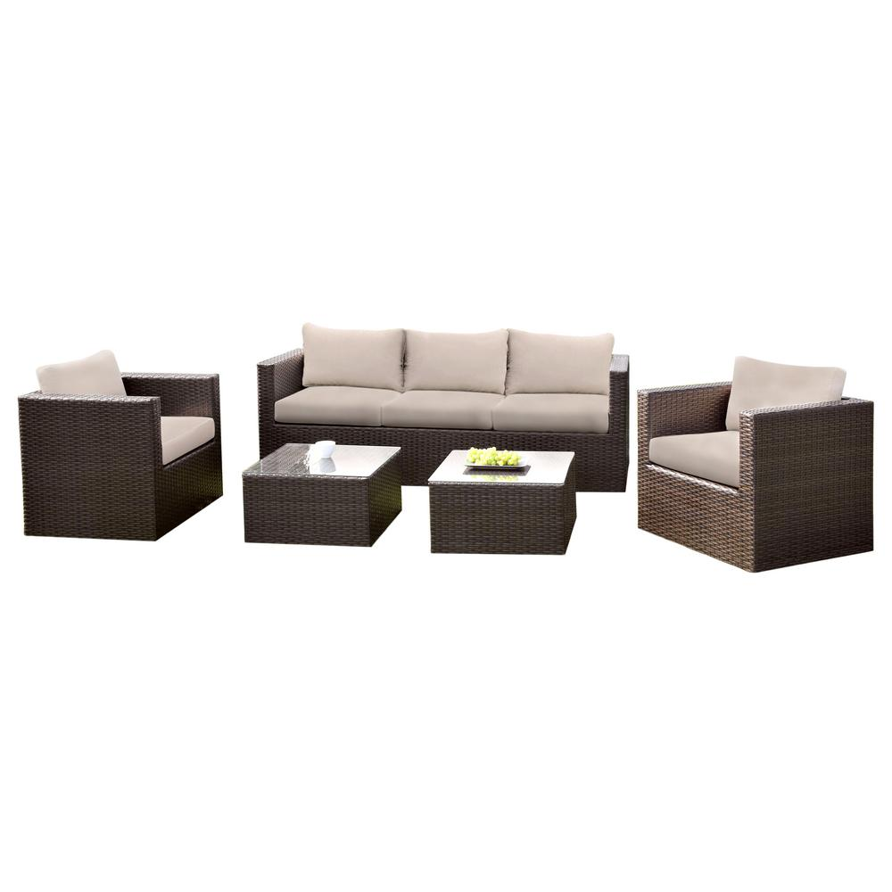 Venetian Worldwide Aluminum Wicker Seating Set Beige Cushions