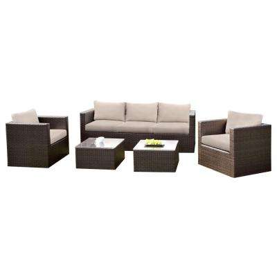 Hampton 5-Piece Aluminum and Wicker Seating Set With Beige Cushions