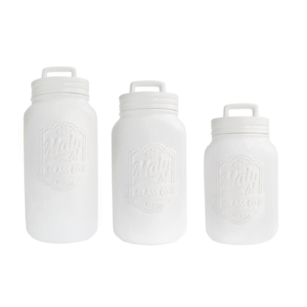 3-Piece White Ceramic Main Street Canister Set with Lid