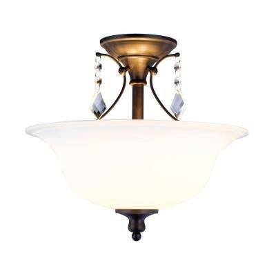 Ethelyn Collection 2-Light Oil-Rubbed Bronze Semi-Flush Mount Light with Frosted Glass Shade
