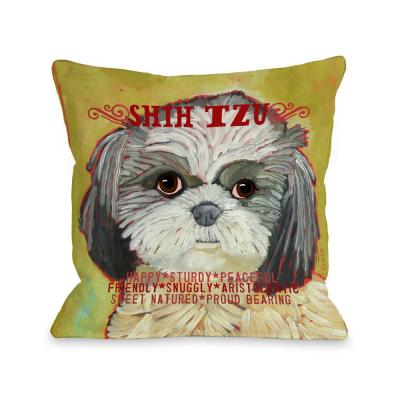 Shih Tzu Pale Green Graphic Polyester 16 in. x 16 in. Throw Pillow