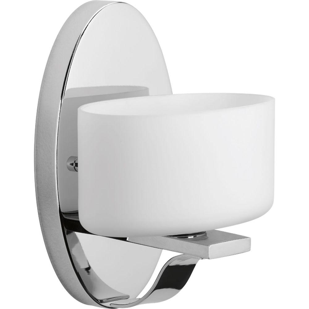 Arise Collection 1-Light Polished Chrome Bath Sconce with Opal Etched Glass