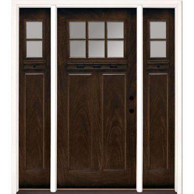 67.5 in.x81.625 in. 6 Lt Clear Craftsman Stained Chestnut Mahogany Left-Hand Fiberglass Prehung Front Door w/ Sidelites
