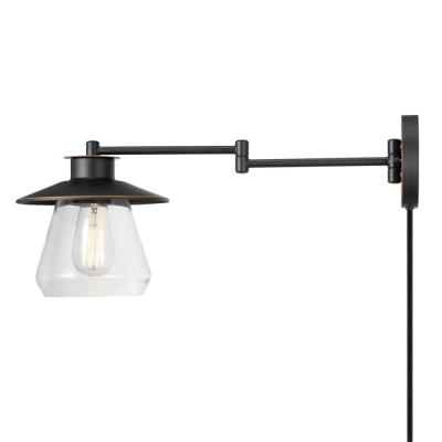 Nate 1-Light Oil Rubbed Bronze Plug-In or Hardwire Wall Sconce with Clear Glass Shade