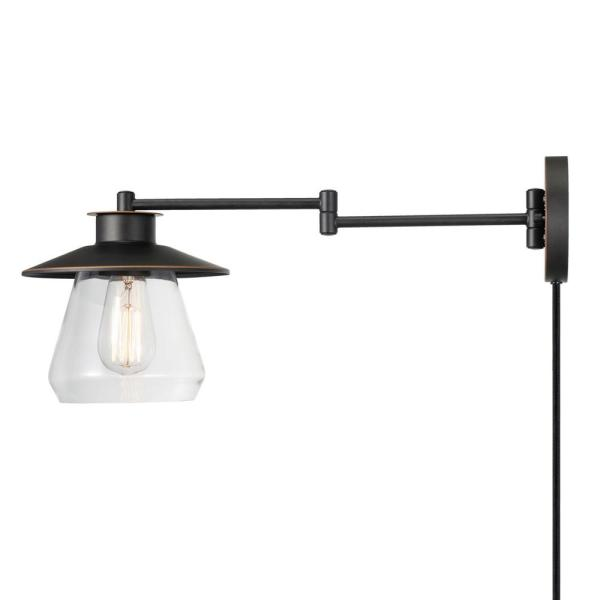 Nate 1-Light Oil Rubbed Bronze Plug-In or Hardwire Wall Sconce